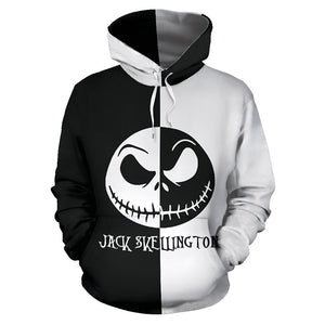 Unisex Nightmare Before Christmas Hoodies Jack Skellington Printed Pullover Jacket Sweatshirt