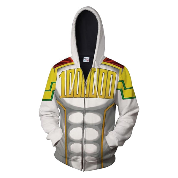 Unisex Le Million Hoodies My Hero Academia Zip Up 3D Muscle Printed Jacket Sweatshirt