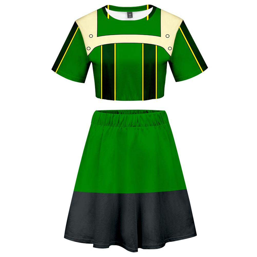My Hero Academia 2 Pieces Asui Tsuyu Outfits for Women Short Sleeves Crop Top + A Line Skirt Sets