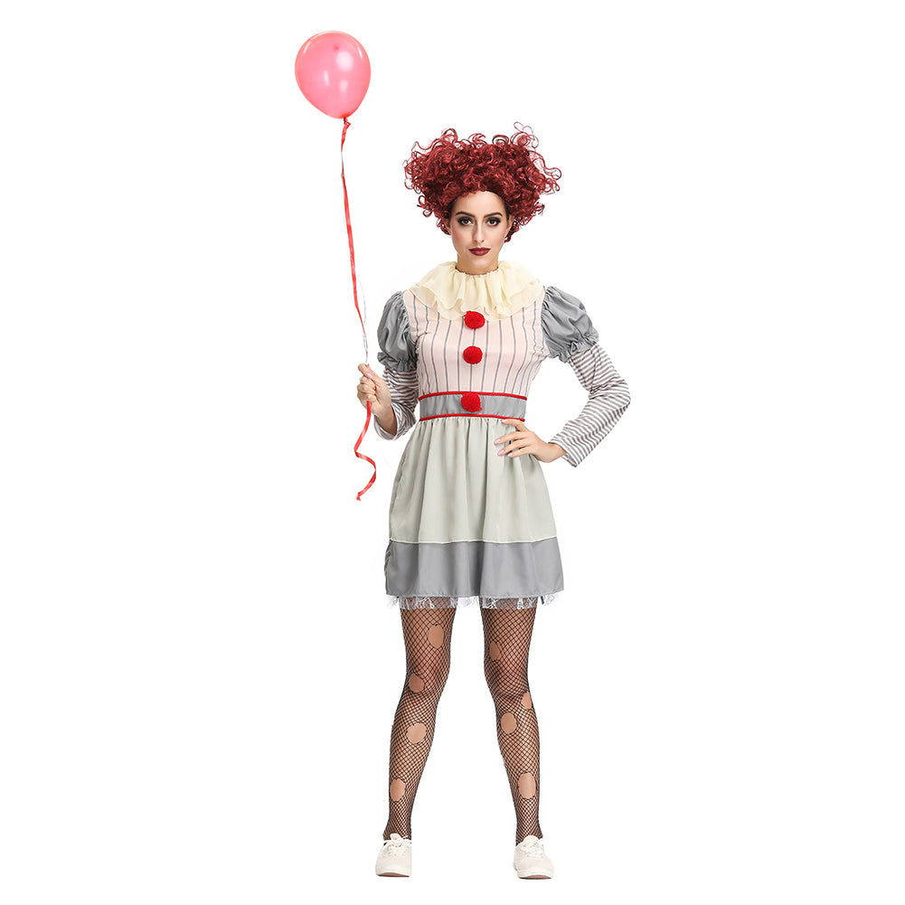 Halloween Clown Girl Outfit.Women Scary Clown Costume Deluxe Pennywise Cosplay Dress Halloween Costume Outfit