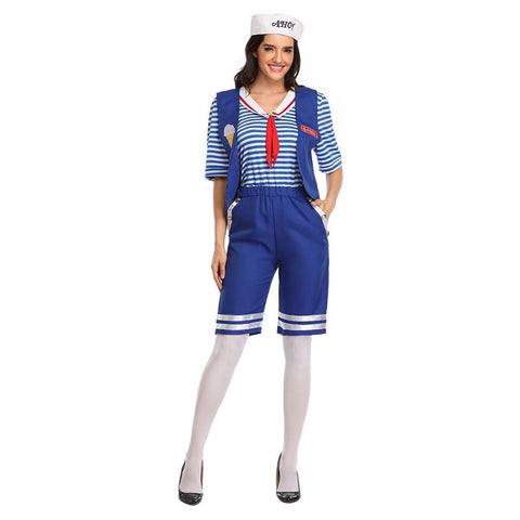 Stranger Things Season 3 Costume Robin Steve Harrington Scoops Ahoy Cosplay Costume Adult Sailor Uniform