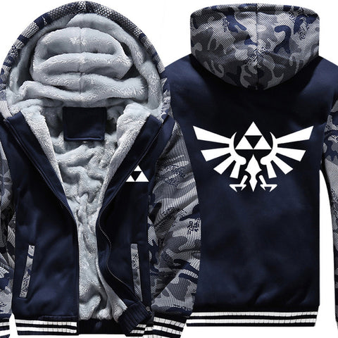 Men The Legend Of Zelda Triforce Coat Adult Thicken Velvet Winter Fleece Zip Up Hoodie Winter Jacket