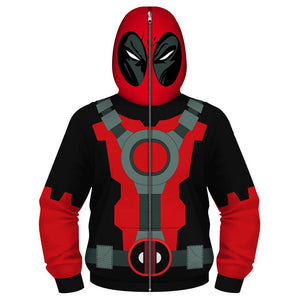 Kids Dead Pool Full-Zip Up Hooded Sweatshirt with Face Mask