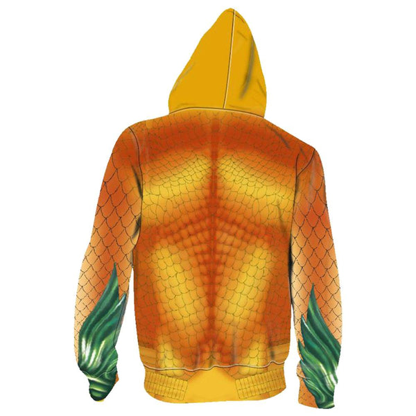 Unisex Arthur Curry Hoodies Aquaman Zip Up 3D Print Jacket Sweatshirt Style B