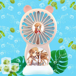 Sword Art Online Handheld Small Fan USB Charging Portable Student Dormitory Office Foldable Mini Fans