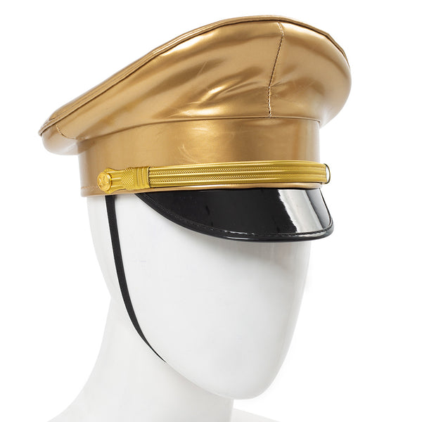 Thailand Military Officer Cap PU Leather Police Hat Performance Stage Show Night Bar Hat