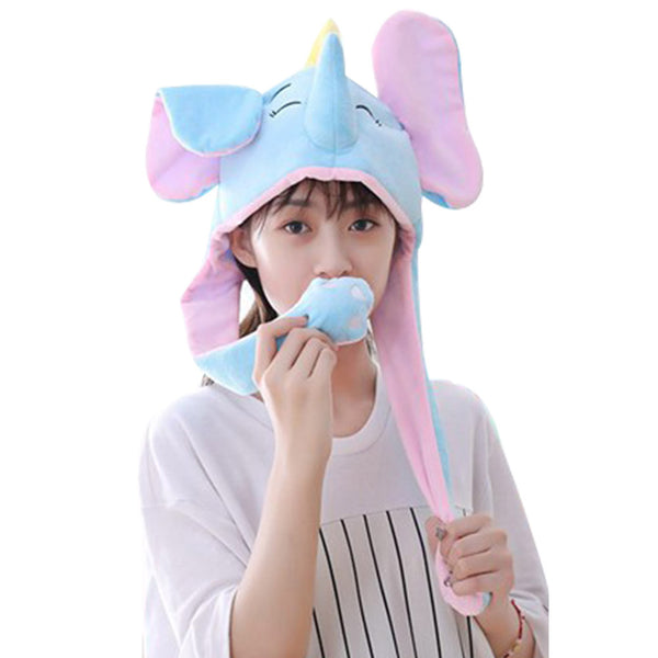 Funny Plush Elephant Hat Cap Party Gift Halloween Christmas Novelty Party Dress up Cosplay