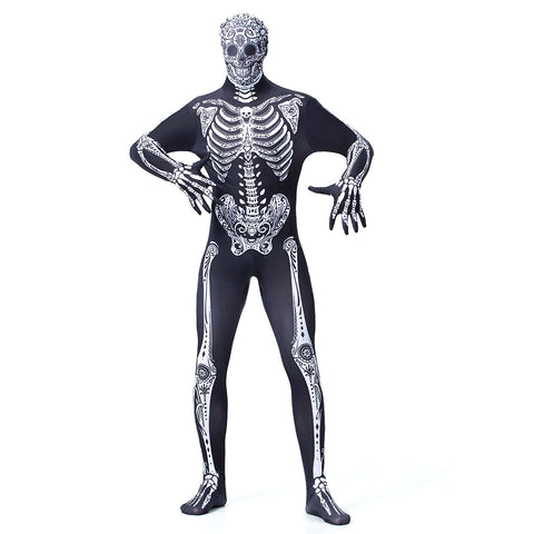 Men Horror Zombie Monster Skeleton Costume Cosplay Halloween Costume Lycra Jumpsuit Carnival Party Dress Up