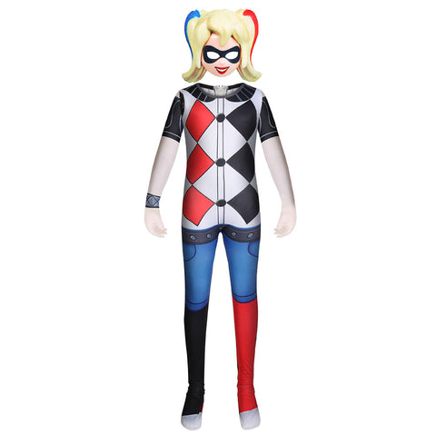 Kids Girls Suicide Squad Harley Quinn Cosplay Zentai Suit Halloween Costume Children Jumpsuit Bodysuit Outfits