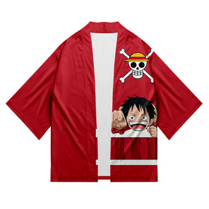 Unisex One Piece Kimono Coat Monkey D. Luffy Printed Cosplay Costumes Halloween Costume Cloak