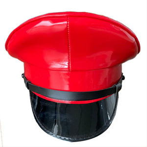 c7d6b918 Thailand Military Officer Cap PU Leather Police Hat Performance Stage Show  Night Bar Hat Red