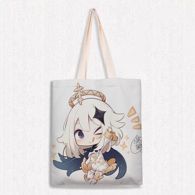 Game Genshin Impact Shoulder Burlap Bag Cosplay Foldable Reusable Shopping Travel Bag
