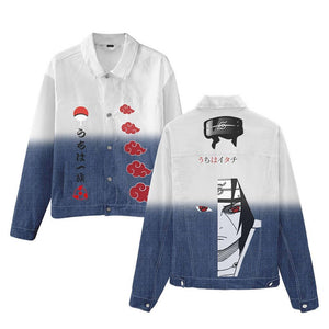 Unisex Anime Naruto Denim Jacket Overcoat Jeans Cosplay Fashion Long Sleeves Hip Hop Sweatshirt