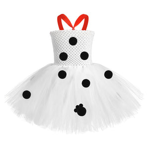 Kids Girls Halloween Role Play Costume Polka Dot Knee Length 101 Dalmatians Carnival Princess Tutu Dress