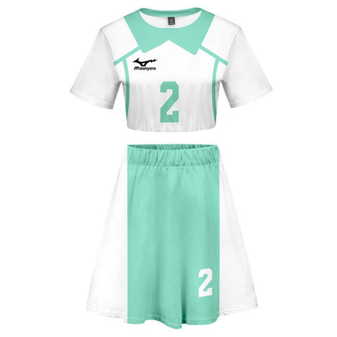 Women Haikyuu!! Issei Matsukawa 2 Pieces Cosplay Outfits Short Sleeves Crop Top + A Line Skirt Sets