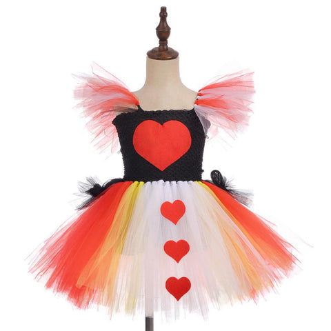 Kids Girls Halloween Role Play Costume Knee Length Red Heart Queen Carnival Princess Tutu Dress