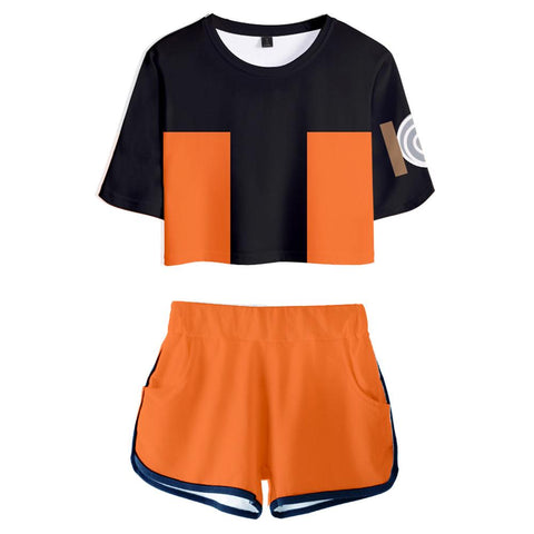 Women Naruto Crop Top Sets Uzumaki Naruto Cosplay Short Sleeve T-shirt Shorts 2 Pieces Sets Casual Clothes