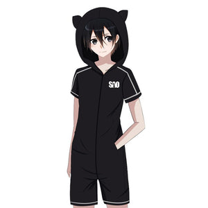 Anime Sword Art Online Cosplay Flannel Pajamas Bathrobe Hooded Pajamas Cat Ear Onesies Suit
