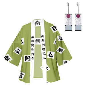 Anime Demon Slayer: Kimetsu no Yaiba Kimono Coat Himejima Gyoumei Cosplay Halloween Costume Cloak with Earring