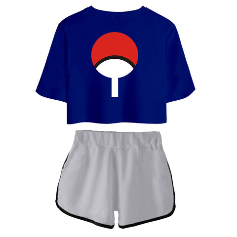 Women Naruto Crop Top Sets Uchiha Sasuke Cosplay Short Sleeve T-shirt Shorts 2 Pieces Sets Casual Clothes