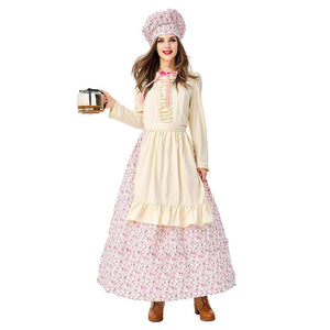 Women Halloween Pastoral Maid Costumes Coffee Pastry Chef Cook Housekeeper Dress Costume