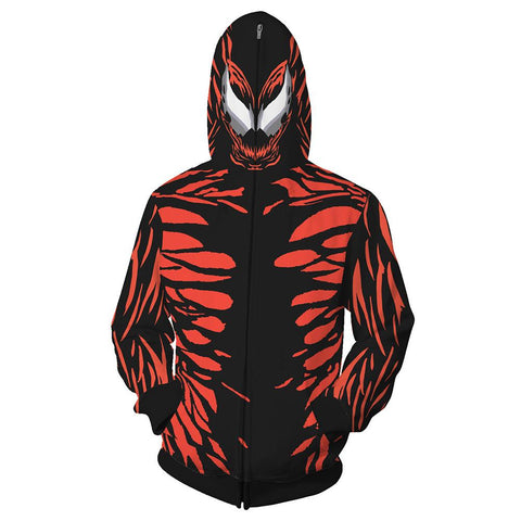Unisex Venom: Let There Be Carnage Hoodies Venom Cosplay Hooded Sweatshirt Casual Zip Up Streetwear