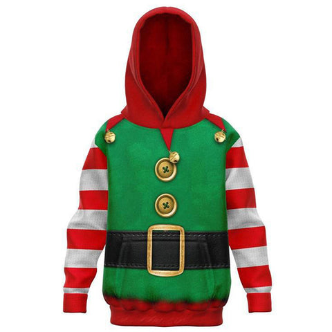 Kids Christmas Hoodies Christmas Elf Cosplay Hoodies Boys Girls Long Sleeve Casual Pullover Sweatshirt