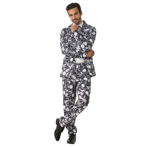 Halloween Men Crazy Party Costume Suit in Funny Gray Skull Designs – Comes with Jacket, Pants and Tie