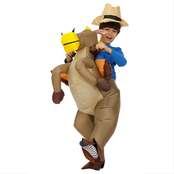 Kids Inflatable Costume Funny Horse Riding Halloween Blow Up Costume