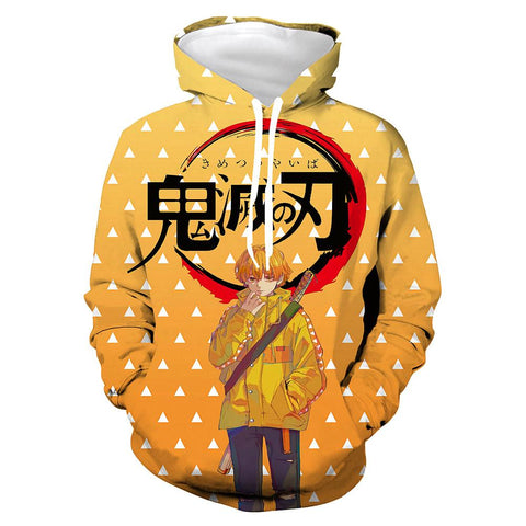 Anime Demon Slayer: Kimetsu no Yaiba Hoodies Agatsuma Zenitsu Printed Hoodie Pullover Sweatshirts Tracksuits Clothes
