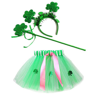 Girls St. Patrick's Day Tutu Skirt Green Shamrock Tulle Skirts with Headband Holiday Party Fancy Dress