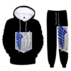 Unisex Attack on Titan Hoodie Pants Set Survey Corps Cosplay Hooded Sweatshirt Sports Sweatpants Casual Streetwear