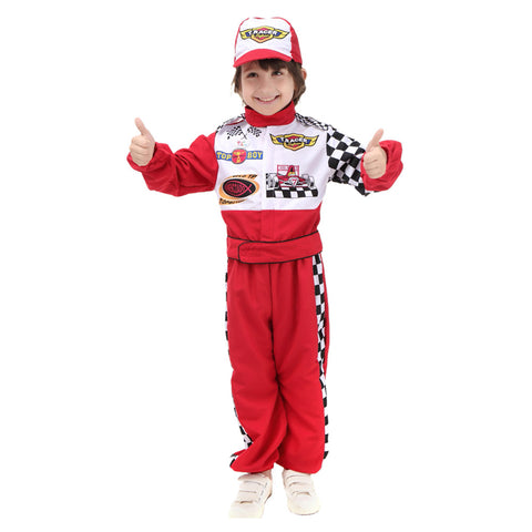 Deluxe Boys Red Racing Driver Car Racer Sports Fancy Dress Costume Outfit