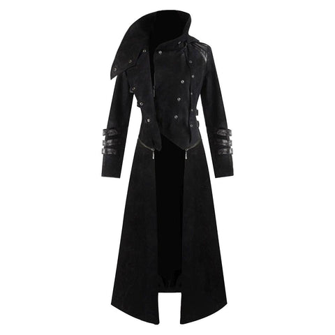 Men's Halloween Medieval Hooded Trench Coat Long Jacket Black Gothic Steampunk Costume