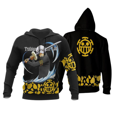 Anime ONE PIECE Hoodies Trafalgar Law Printed Hooded Sweatshirt Casual Streetwear Pullover Hoodie