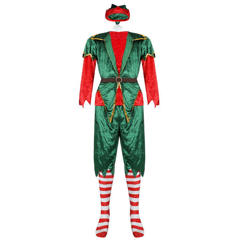 Christmas Santa Claus Costume For Adult Men Green Elf Clothing Fancy Christmas Party Costume