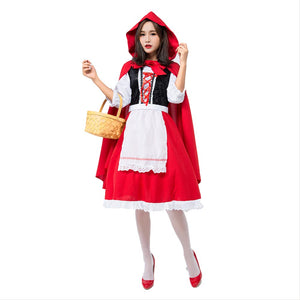 Women Classic Little Red Riding Hood Halloween Costume Knee Length Skirt and Removable Hood Cape