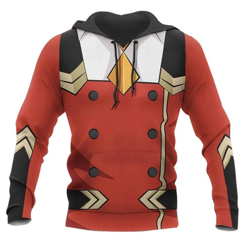 Anime DARLING in the FRANXX Hoodies Zero Two Cosplay Hooded Sweatshirt Casual Streetwear Pullover Hoodie
