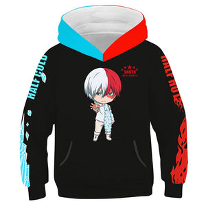 Kids Anime My Hero Academia Hoodies Todoroki Shoto Printed Hooded Sweatshirt Casual Streetwear Pullover Hoodie