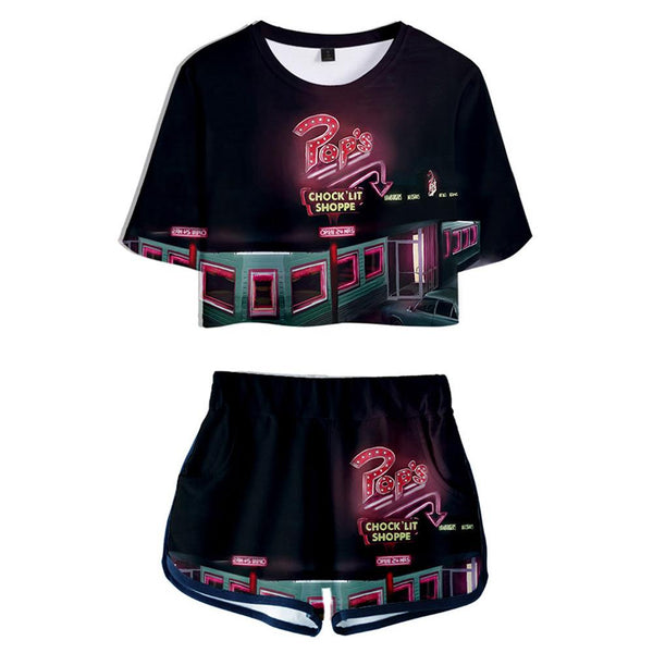 Women Riverdale Season 5 Cosplay Crop Top & Shorts Set Summer 2 Pieces Casual Clothes