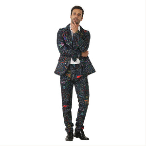 Halloween Men Crazy Party Costume Suit in Funny Colorful Formula Designs – Comes with Jacket, Pants and Tie