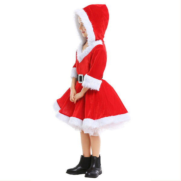 Girls Mrs Claus Costume Santas Little Helper Kids Miss Christmas Dress Outfit