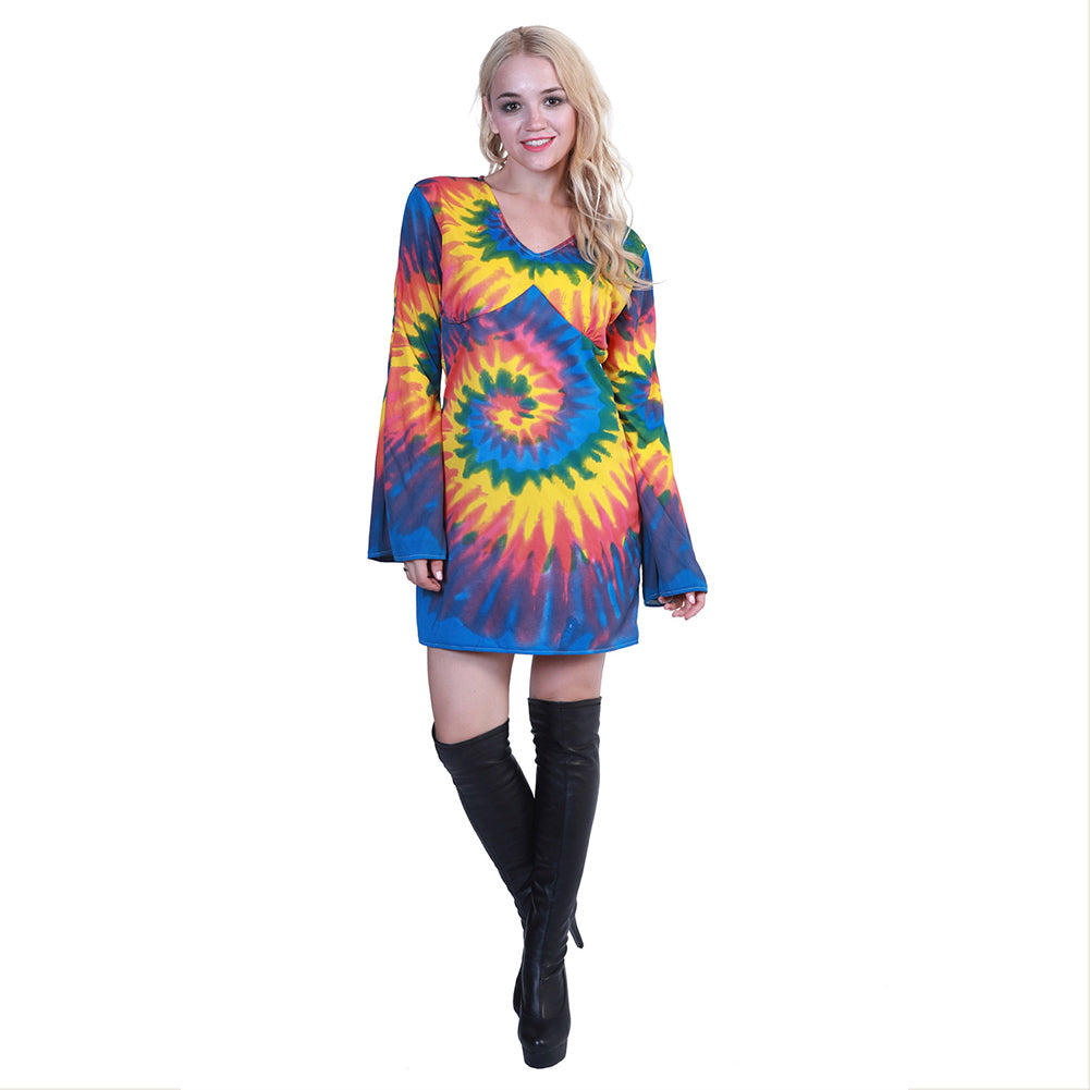Womens Shimmy Hippie Costume 60s 70s Flower Power Halloween Dress Up Outfit