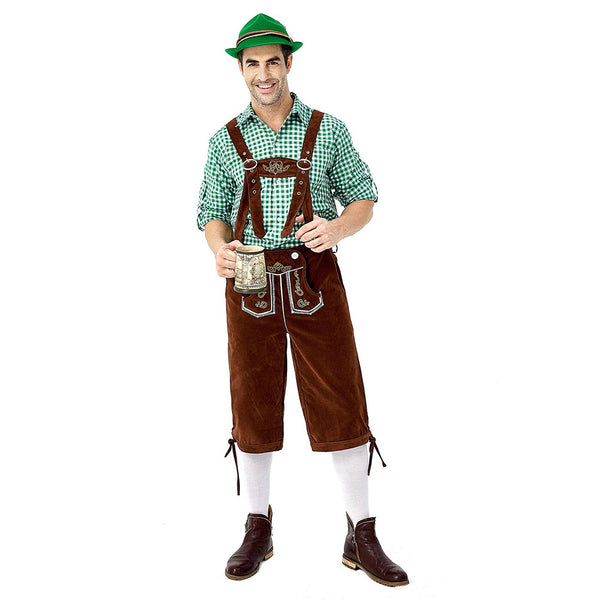 Men's German Bavarian Oktoberfest Costume Set for Halloween Dress Up Party and Beer Festival Brown