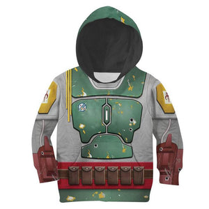 Kids Star Wars Boba Fett Cosplay Hoodies Boys Girls Long Sleeve Casual Pullover Sweatshirt