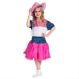 Halloween Girls Wild West Party Pink and Blue Cowgirl Costume Deluxe Costume Outfit