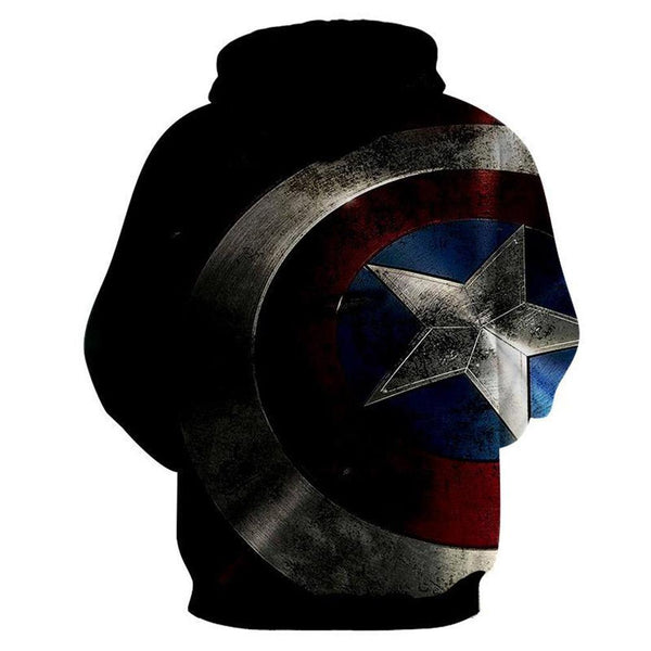 Unisex The Falcon and the Winter Soldier Hoodies Captain America Shield Printed Cartoon Harajuku Pullover Sweatshirt
