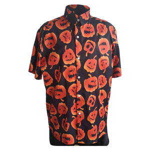 Men Halloween Party Shirt Pumpkin Print Short Sleeve Turn Down Neck Button Shirt Blouse Casual Shirts Tops