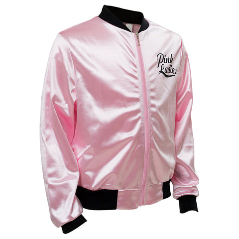 Adult Women Pink Ladies Grease Jacket Cosplay Costume Retro Fancy Satin Coat Halloween Carnival Party Pink Clothing