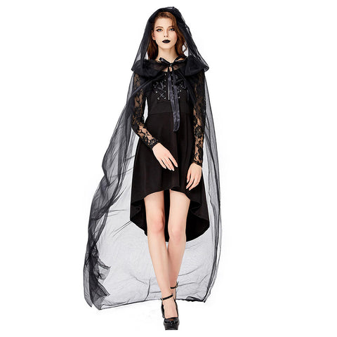 Women Halloween Witch Costume Black Wicked Lace Sexy Dress Cosplay Outfit